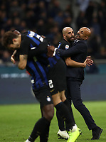 Calcio, Serie A: Inter Milano - AC Milan , Giuseppe Meazza stadium, .October 21, 2018.<br /> Inter's coach Luciano Spalletti (r) and Borja Valero (l) celebrate after winning 1-0  the Italian Serie A football match between Inter and Milan at Giuseppe Meazza (San Siro) stadium, October 21, 2018.<br /> UPDATE IMAGES PRESS/Isabella Bonotto