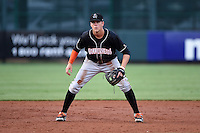 Jupiter Hammerheads third baseman Brian Anderson (9) during a game against the Bradenton Marauders on April 18, 2015 at McKechnie Field in Bradenton, Florida.  Bradenton defeated Jupiter 4-1.  (Mike Janes/Four Seam Images)