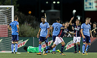Foxborough, Massachusetts - October 15, 2017: In a Major League Soccer (MLS) match, New England Revolution (blue/white) defeated New York City FC (light blue/blue), 2-1, at Gillette Stadium.<br />