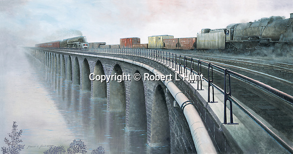 Pennsylvania Railroad T1 and M1 steam locomotives pull freight and passenger trains across the Susquehanna River on the Rockville Bridge north of Harrisburg, PA, circa 1945.