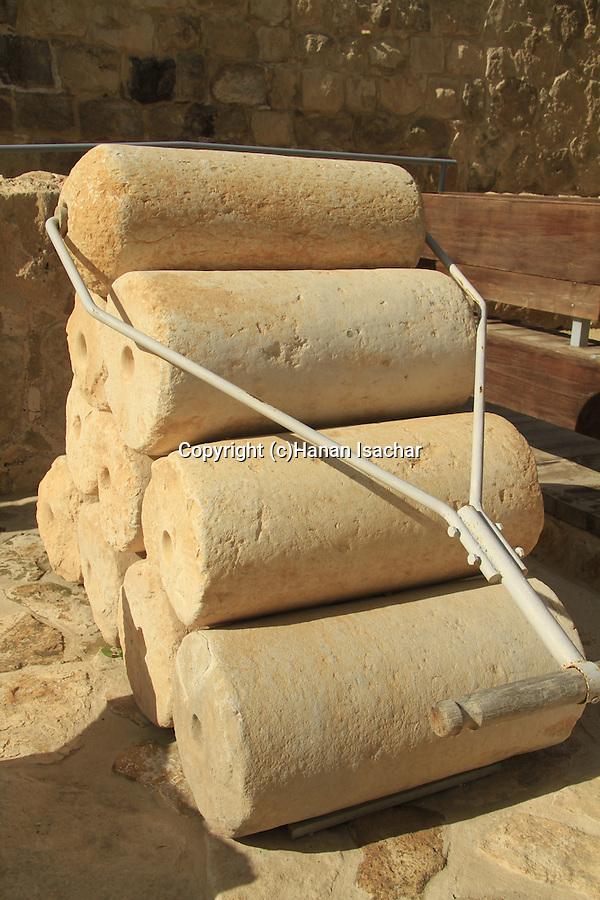 Judean Desert, the museum of the Good Samaritan, rollers for compressing plaster from the Hellenistic period found on Mount Gerizin