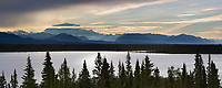 Sunrise over Mount Blackburn of the Wrangell mountains, Willow lake, Wrangell St. Elias National Park, southcentral, Alaska.