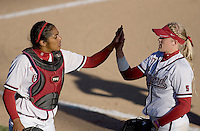 STANFORD, CA - February 26, 2011: Maya Burns (left) and Teagan Gerhart during Stanford's 16-2 win over Colorado State at Stanford, California on February 26, 2011.