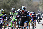 The peloton including Ian Stannard (GBR) Team Sky tackle the 1st sector of strade at Pian del Lago during the 2014 Strade Bianche race over the white dusty gravel roads of Tuscany running from San Gimignano to Siena, Italy. 8th March 2014.<br /> Picture: Eoin Clarke www.newsfile.ie