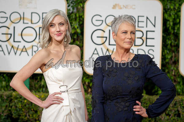 Annie Guest and Jamie Lee Curtis arrive at the 73rd Annual Golden Globe Awards at the Beverly Hilton in Beverly Hills, CA on Sunday, January 10, 2016. Photo Credit: HFPA/AdMedia