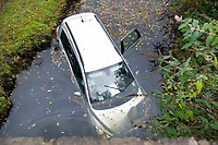 2018 11 08 Car crash into canal. Neath, South Wales, UK.