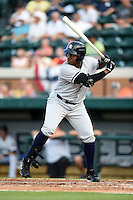 Tampa Yankees outfielder Yeicok Calderon (48) during a game against the Lakeland Flying Tigers on April 3, 2014 at Joker Marchant Stadium in Lakeland, Florida.  Tampa defeated Lakeland 4-0.  (Mike Janes/Four Seam Images)