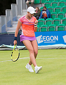 June 10th 2017,  Nottingham, England; WTA Aegon Nottingham Open Tennis Tournament day 1; Fist pump from Deniz Khazaniuk of Israel as she wins a point in her match against Eden Silva of Great Britain