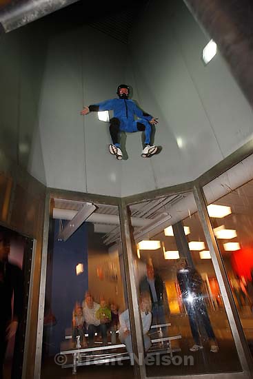 Ogden - Phil White floats on air created by a vertical wind tunnel at I Fly Utah, and Ogden attraction which gives people the feeling of skydiving, 11.30.2007