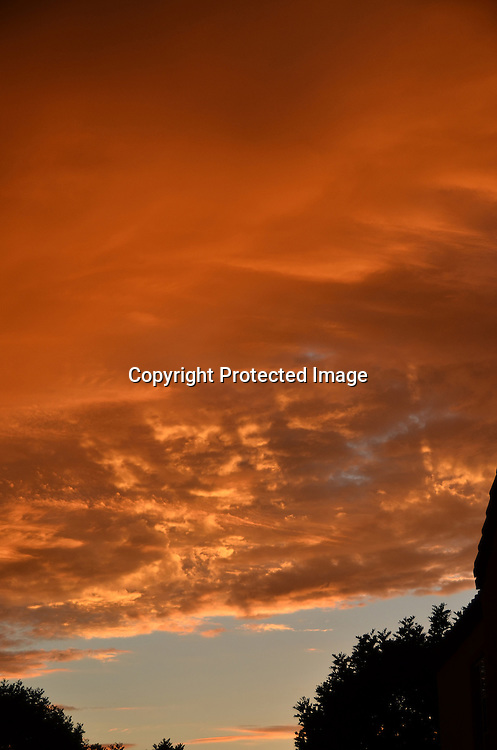 Stock photo of evening sky on fire