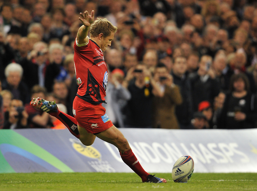 Toulon's Jonny Wilkinson on his last game in Britain<br /> <br /> Photographer Ashley Western/CameraSport<br /> <br /> Rugby Union - Heineken Cup Final - Toulon v Saracens - Saturday 24th May 2014 - Millennium Stadium - Cardiff<br /> <br /> &copy; CameraSport - 43 Linden Ave. Countesthorpe. Leicester. England. LE8 5PG - Tel: +44 (0) 116 277 4147 - admin@camerasport.com - www.camerasport.com