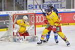 Mirko Hoefflin (Nr.92 - ERC Ingolstadt) und Marc-Anthony Zanetti (Nr.51 - Duesseldorfer EG) vor Torwart Mathias Niederberger (Nr.35 - Duesseldorfer EG) beim Spiel in der DEL, ERC Ingolstadt (dunkel) - Duesseldorfer EG (hell).<br /> <br /> Foto © PIX-Sportfotos *** Foto ist honorarpflichtig! *** Auf Anfrage in hoeherer Qualitaet/Aufloesung. Belegexemplar erbeten. Veroeffentlichung ausschliesslich fuer journalistisch-publizistische Zwecke. For editorial use only.