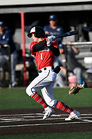 Left fielder Jared Williams (1) of the North Greenville Crusaders bats a game against the Palm Beach Atlantic Sailfish on Monday, February 25, 2019, at Ashmore Park in Tigerville, South Carolina. Palm Beach won, 7-5. (Tom Priddy/Four Seam Images)