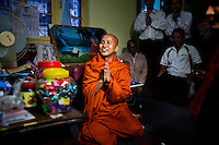 U Wirathu, the spiritual leader of the radical Buddhist 969 movement, prays amongst his followers before he delivers a sermon at Thein Taung Monastery in Taunggyi, Shan State. /Felix Features