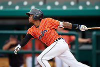 Lakeland Flying Tigers center fielder Jose Azocar (10) follows through on a swing during the second game of a doubleheader against the St. Lucie Mets on June 10, 2017 at Joker Marchant Stadium in Lakeland, Florida.  Lakeland defeated St. Lucie 9-1.  (Mike Janes/Four Seam Images)