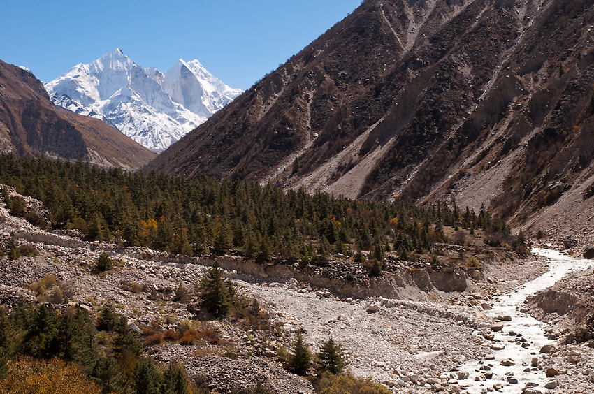 Looking up the valley toward Bhagirathi Peak, which towers over the source of the Ganges.