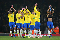 Neymar Jr and the rest of the Brazil team applaud the fans at the end of the match during Brazil vs Uruguay, International Friendly Match Football at the Emirates Stadium on 16th November 2018