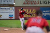 Billings Mustangs shortstop Carlos Rivero (23) throws to first base during a Pioneer League game against the Ogden Raptors at Lindquist Field on August 17, 2018 in Ogden, Utah. The Billings Mustangs defeated the Ogden Raptors by a score of 6-3. (Zachary Lucy/Four Seam Images)
