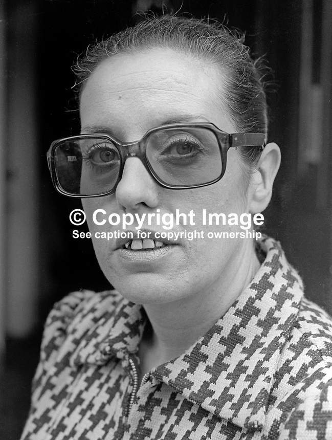 Betty Williams, Peace People, joint leader, Belfast, N Ireland, October 1976, 197610150439c<br /> <br /> Copyright Image from Victor Patterson, 54 Dorchester Park, Belfast, UK, BT9 6RJ<br /> <br /> Tel: +44 28 9066 1296<br /> Mob: +44 7802 353836<br /> Voicemail +44 20 8816 7153<br /> Email: victorpatterson@me.com<br /> Email: victorpatterson@gmail.com<br /> <br /> IMPORTANT: My Terms and Conditions of Business are at www.victorpatterson.com