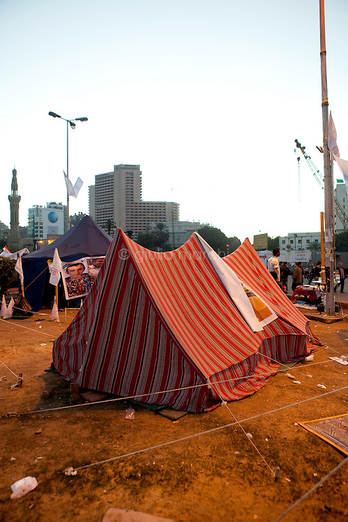 EGYPT / Cairo / December 2012 / The anti-Morsi protesters' camp in the middle of Tahrir Square in Cairo.  <br /> <br /> &copy; Giulia Marchi