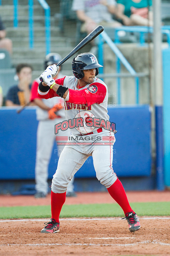 Adrian Abreau (2) of the Brooklyn Cyclones at bat against the Hudson Valley Renegades at Dutchess Stadium on June 18, 2014 in Wappingers Falls, New York.  The Cyclones defeated the Renegades 4-3 in 10 innings.  (Brian Westerholt/Four Seam Images)