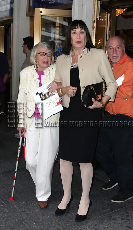 Liz Smith & Anjelica Huston.attending 'Gore Vidal - A Celebration' at the Schoenfeld Theatre in New York City on August 23, 2012