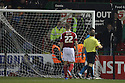 The net needs repairs after a player was caught in it<br />  - Swindon Town v Stevenage - Johnstone's Paint Trophy - Southern Section Semi-final  - County Ground, Swindon - 10th December, 2013<br />  © Kevin Coleman 2013