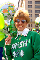 Irish woman age 35 at St Patricks day parade.  St Paul  Minnesota USA