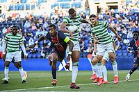 21st July 2020, Parc de Princes, Paris, France; Friendly club football, PSG versus Celtic;  Presnel KIMPEMBE of PSG challenges Christopher JULLIEN of Celtic