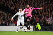 5th October 2017, Hampden Park, Glasgow, Scotland; FIFA World Cup Qualification, Scotland versus Slovakia; Slovakia's Stanislav Lobotka battles for the ball with Scotland's Matt Phillips