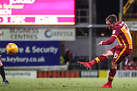 Paul Taylor of Bradford City scores from distance against his old club to make it 3-1 during the Sky Bet League 1 match between Bradford City and Peterborough at the Northern Commercial Stadium, Bradford, England on 26 December 2017. Photo by Thomas Gadd.