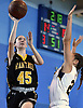 Morgan Flaherty #45 of Wantagh, left, drives to the net for a lay up during a non-league girls basketball game against West Babylon at Robert Moses Middle School in North Babylon on Saturday, Dec. 22, 2018. Wantagh won by a score of 49-30.