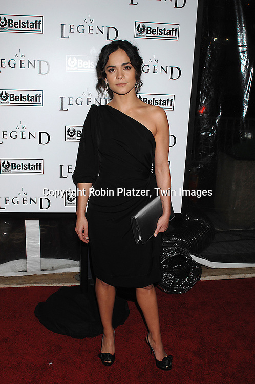 "Alice Braga, actress in the movie.arriving at The New York Premiere of""I Am Legend"" on .December 11, 2007 at The Theatre at Madison Square Garden. The movie stars Will Smith. .Robin Platzer, Twin Images"
