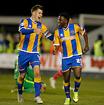 James Collins (left) celebrates with goalscorer Larnell Cole following the first goal of the game - Football - Sky Bet Division 1 - Shrewsbury Town vs Walsall - Greenhous Meadow Shrewsbury - December 1st  2015 - Season 2015/2016 - Photo Malcolm Couzens/Sportimage