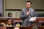 Nevada Assemblyman Stephen Silberkraus, R-Henderson, works in committee at the Legislative Building in Carson City, Nev., on Monday, March 23, 2015. <br /> Photo by Cathleen Allison