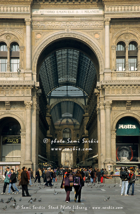 Entrance to the shopping arcade Galleria Vittorio Emanuele II, Milan, Italy.