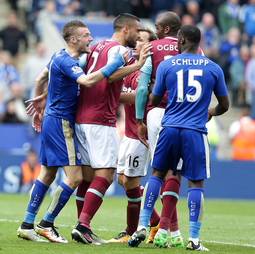 Leicester City's Jamie Vardy argues with West Ham United's Angelo Ogbonna Obinze after he received a second yellow card for an alleged dive after appearing to have been fouled by the West Ham player in the penalty area<br /> <br /> Photographer Stephen White/CameraSport<br /> <br /> Football - Barclays Premiership - Leicester City v West Ham United - Sunday 17th April 2016 - King Power Stadium - Leicester <br /> <br /> &copy; CameraSport - 43 Linden Ave. Countesthorpe. Leicester. England. LE8 5PG - Tel: +44 (0) 116 277 4147 - admin@camerasport.com - www.camerasport.com