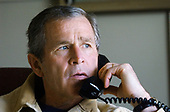United States President George W. Bush discusses developments in the Middle East during a phone call with National Security Advisor Condoleezza Rice early Friday afternoon, March 29, 2002 at the Bush Ranch in Crawford, Texas.<br /> Mandatory Credit: Eric Draper / White House via CNP