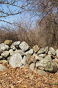 Stone wall on the grounds of Odiorne Point State Park in Rye, New Hampshire. Within the park are remnants of Fort Dearborn, an old military fort.