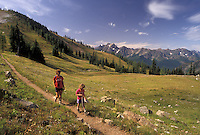 AJ3651, Cascades, hiking, Cascade Range, Pacific Crest Trail, Washington, Mother and daughter (6 years old) hike the Pacific Crest Trail in the Northern Cascade Mountains in the state of Washington.