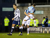 Garry Thompson of Wycombe Wanderers celebrates his goal with Scott Kashket during the Checkatrade Trophy round two Southern Section match between Millwall and Wycombe Wanderers at The Den, London, England on the 7th December 2016. Photo by Liam McAvoy.