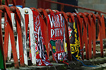Wrexham 2 Ebbsfleet United 0, 18/11/2017. The Racecourse Ground, National League. Banners in the the Kop end of the Racecourse Ground. Photo by Paul Thompson.