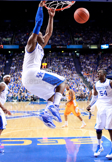 Freshman guard John Wall dunks during the second half of the game against Tennessee at Rupp Arena on Saturday. Photo by Zach Brake | Staff.