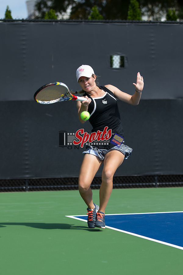 Courtney Meredith of the Wake Forest Demon Deacons in action during the Wake Forest Invitational at the Wake Forest Tennis Center on October 3, 2014 in Winston-Salem, North Carolina.  (Brian Westerholt/Sports On Film)