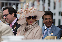 Actress Joan Collins during the Cartier Queens Cup Final match between King Power Foxes and Dubai Polo Team at the Guards Polo Club, Smith's Lawn, Windsor, England on 14 June 2015. Photo by Andy Rowland.