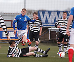 Dean Shiels brought down in the box by Sean Kelly for a penalty