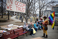 Protesters from Occupy New Hampshire and Occupy the Primary gather in Veterans Memorial Park in Manchester, New Hampshire on Jan. 7, 2012.  The New Hampshire GOP presidential primary is on Jan. 10.