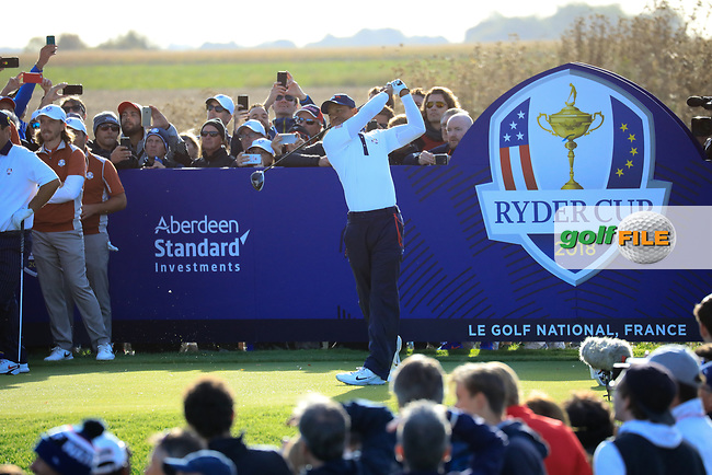 Tiger Woods (Team USA) on the 6th during the Saturday Fourballs at the Ryder Cup, Le Golf National, Paris, France. 29/09/2018.<br /> Picture Phil Inglis / Golffile.ie<br /> <br /> All photo usage must carry mandatory copyright credit (© Golffile   Phil Inglis)