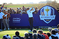 Tiger Woods (Team USA) on the 6th during the Saturday Fourballs at the Ryder Cup, Le Golf National, Paris, France. 29/09/2018.<br /> Picture Phil Inglis / Golffile.ie<br /> <br /> All photo usage must carry mandatory copyright credit (&copy; Golffile | Phil Inglis)