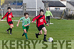 Sean Hill, Park defends the ball from Killian Hackett, Evergreen when the sides met in the National schoolboys U13 quarter final at Christy Leahy park, Tralee last Sunday afternoon. The Kilkenny side won 2-1.